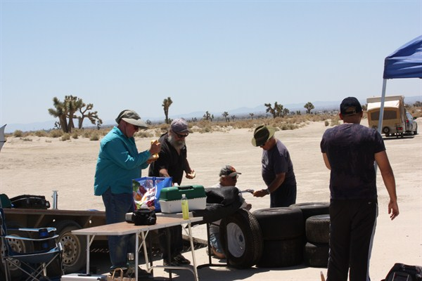 Crew having lunch and sharing war stories